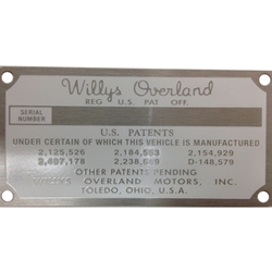 MB GPW M151 M38 CJ Willys Ford WII MV Patent and serial number Name Plate -  right wheel house panel. - AJP 800766