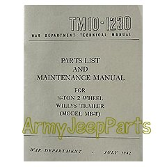 MB GPW M151 M38 CJ Willys Ford WII MV TM10-1230 TM-10-1230