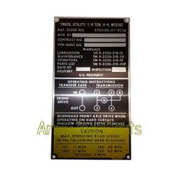 MB GPW M151 M38 CJ Willys Ford WII MV Data plate serial number M151A2  11660442