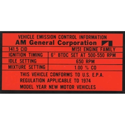 M151A2 Decal Emissions Valve Cover 1974