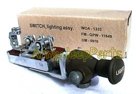MB GPW M151 M38 CJ Willys Ford WII MV Push Pull Main Switch complete assembly with knob A1332